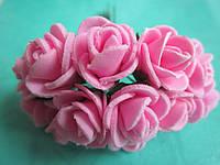 Розочка латексная розовая, букетик из 11 цветков, диаметр розы 15-20 мм, длина проволоки 7 см, фото 1