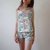 Пижама женская (майка и шорты) Единороги, хлопок, фото 1