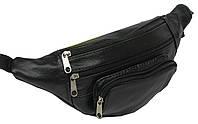 Кожаная поясная сумка, чёрная, kangur 2 zamki 856334