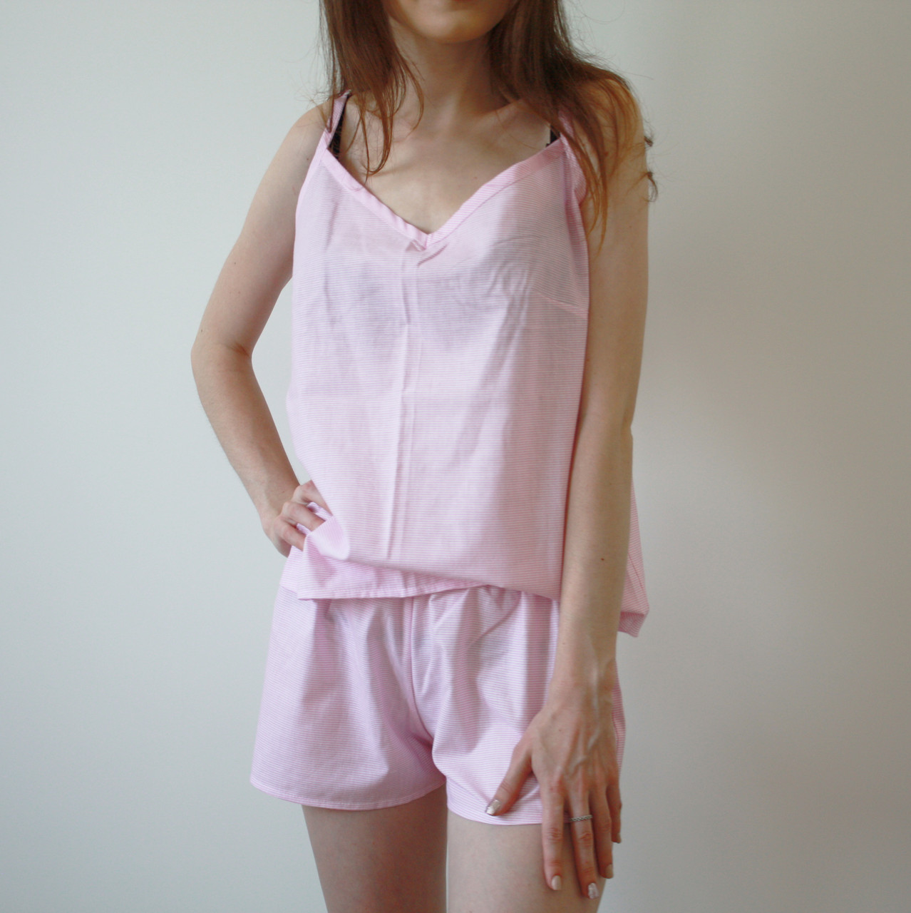 Пижама женская (майка и шорты) Розовая, хлопок