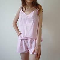Пижама женская (майка и шорты) Розовая, хлопок, фото 1