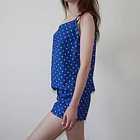 Пижама женская (майка и шорты) Синяя, хлопок, фото 1