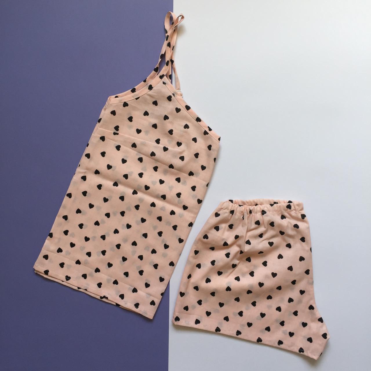 Пижама женская (майка и шорты) Пудра, хлопок