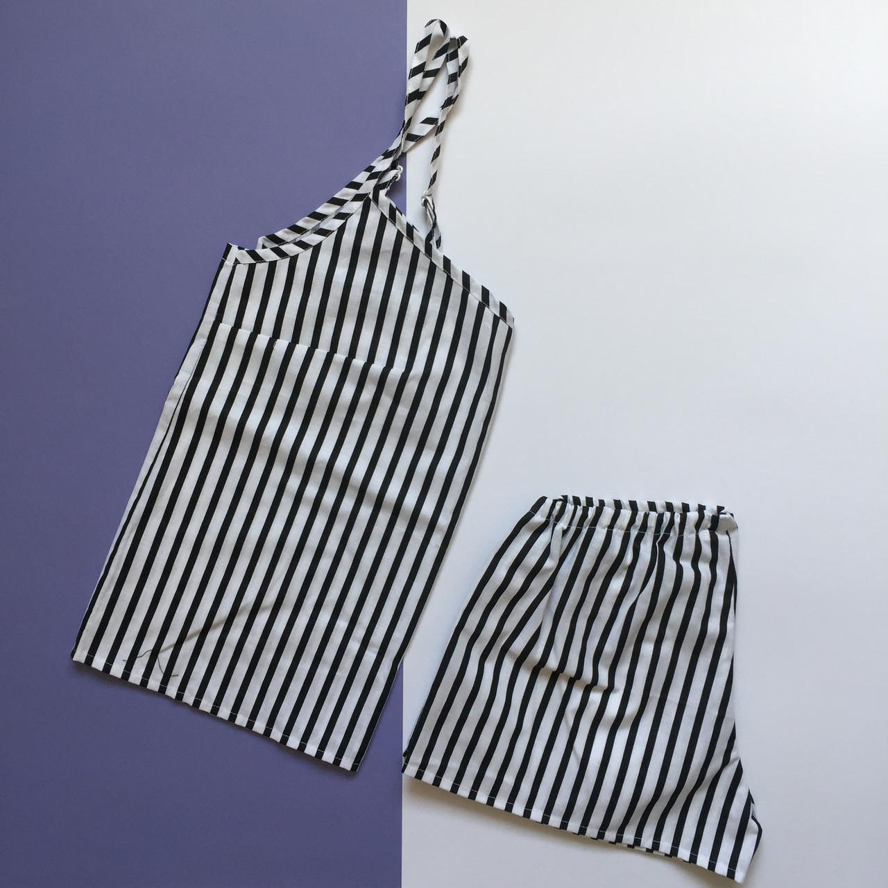 Пижама женская (майка и шорты) Черно-белая полоска, хлопок