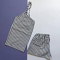 Пижама женская (майка и шорты) Черно-белая полоска, хлопок, фото 1