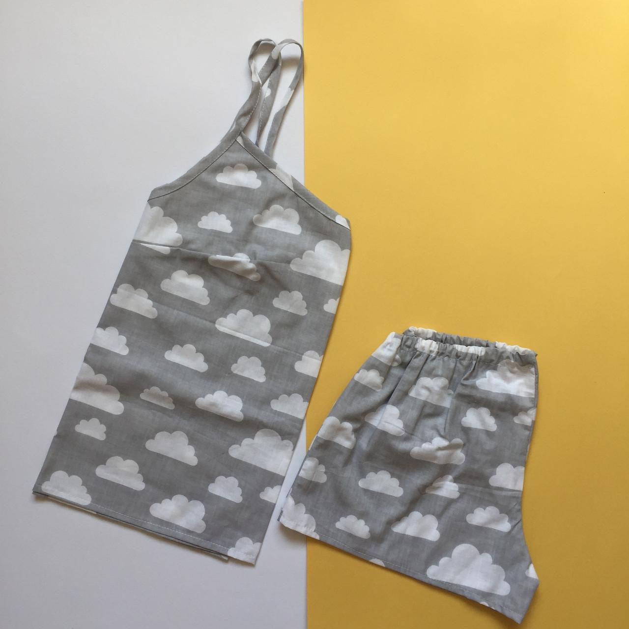 Пижама женская (майка и шорты) Серая с белыми тучками, хлопок