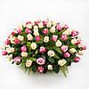Нежная корзина с розами «Флора ассорти - 101 роза»