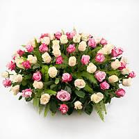 Нежная корзина с розами «Флора ассорти - 101 роза», фото 1