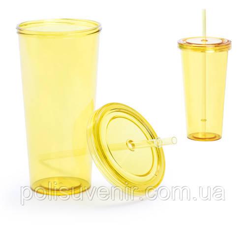 Пластиковий стакан з трубочкою Тринокс