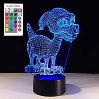 1 Светильник -16 цветов света! Светильник 3D, Прекрасный щенок, Необычные ночники и светильники