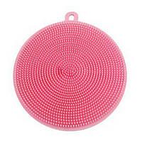 Силиконовая губка для мытья посуды (розовая), фото 1