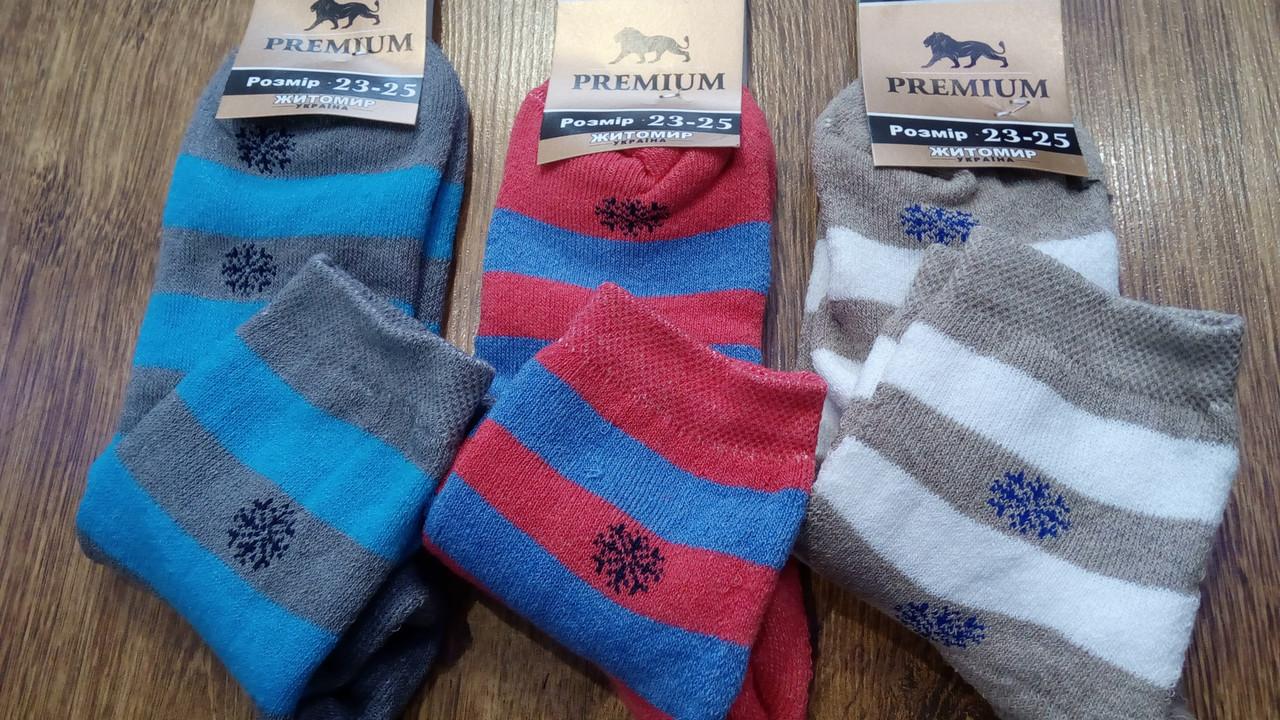 """Жіночі махрові шкарпетки""""Premium Полоски-Сніжинки"""""""