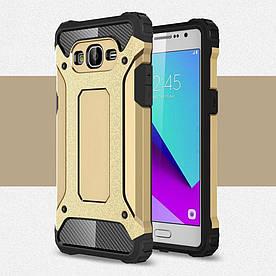 Чехол накладка для Samsung Galaxy Grand Prime G531H VE противоударный, Spider, золотистый