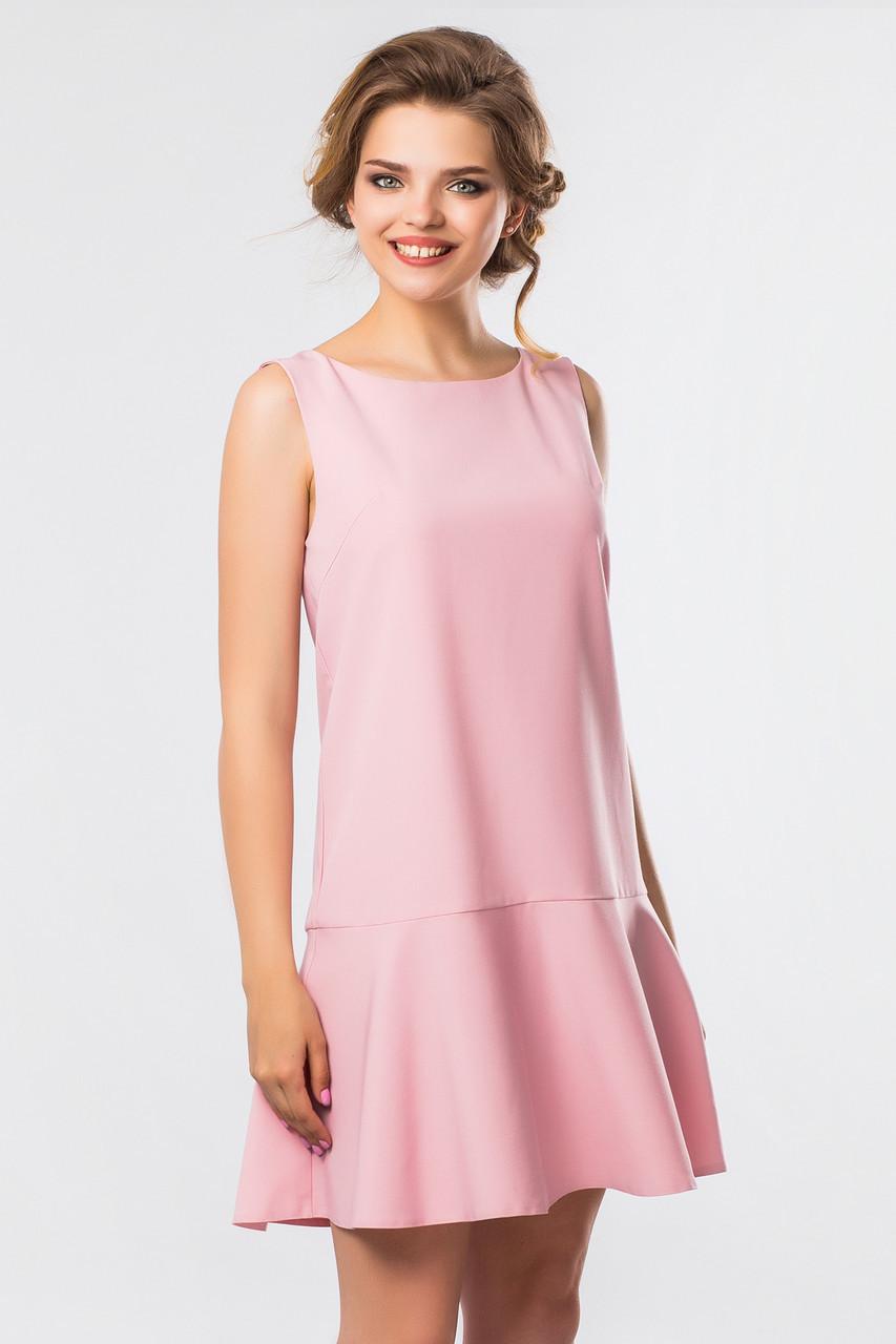 bf64e10e0e3a Летнее женское платье без рукавов с воланом внизу пудровое -  Интернет-магазин