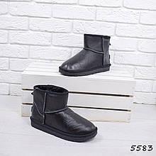 Мужские натуральные кожаные чёрные классические короткие угги