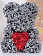 Подарочный Медведь 3D с сердечком из искусственных роз мишка «Teddy Bear» 40 см мишка из роз