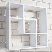 Книжная настенная полка из дерева DABO Wood Square DS85 White