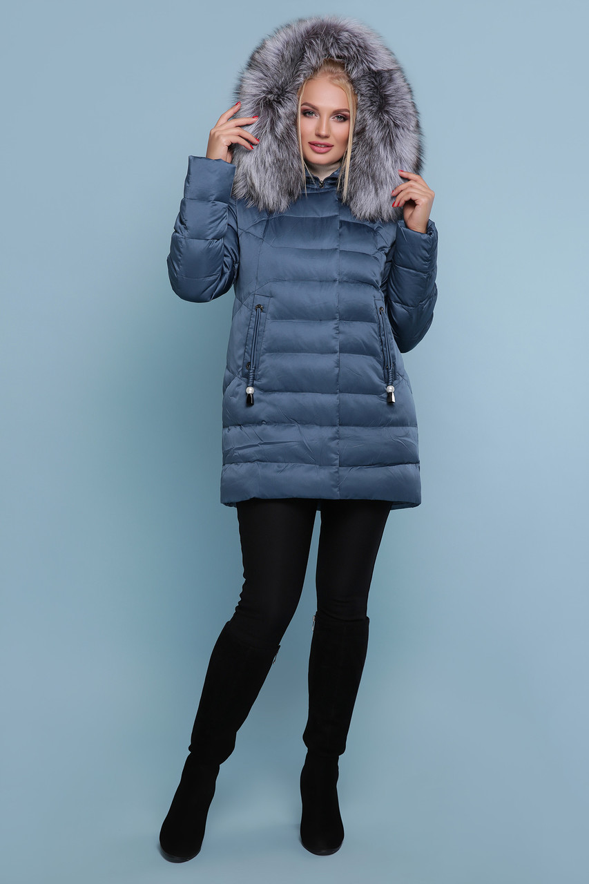 Женский зимний короткий пуховик с мехом на капюшоне Куртка 18-185-Б большие размеры, цвет волна