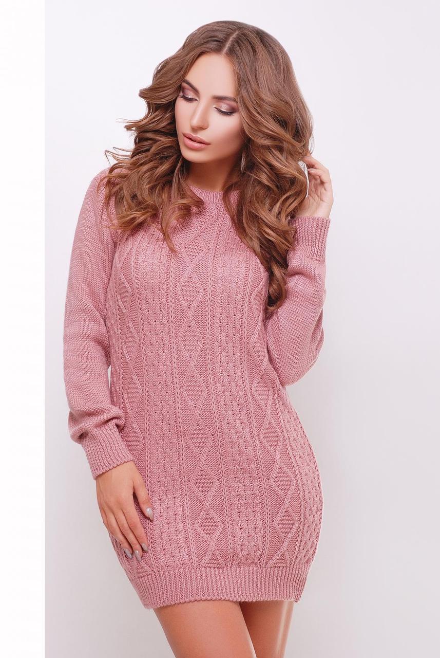 Короткое теплое вязаное платье-туника с длинными рукавами и узором розовое