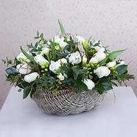 Шикарная композиция тюльпанов в корзине «Жемчужина», фото 1