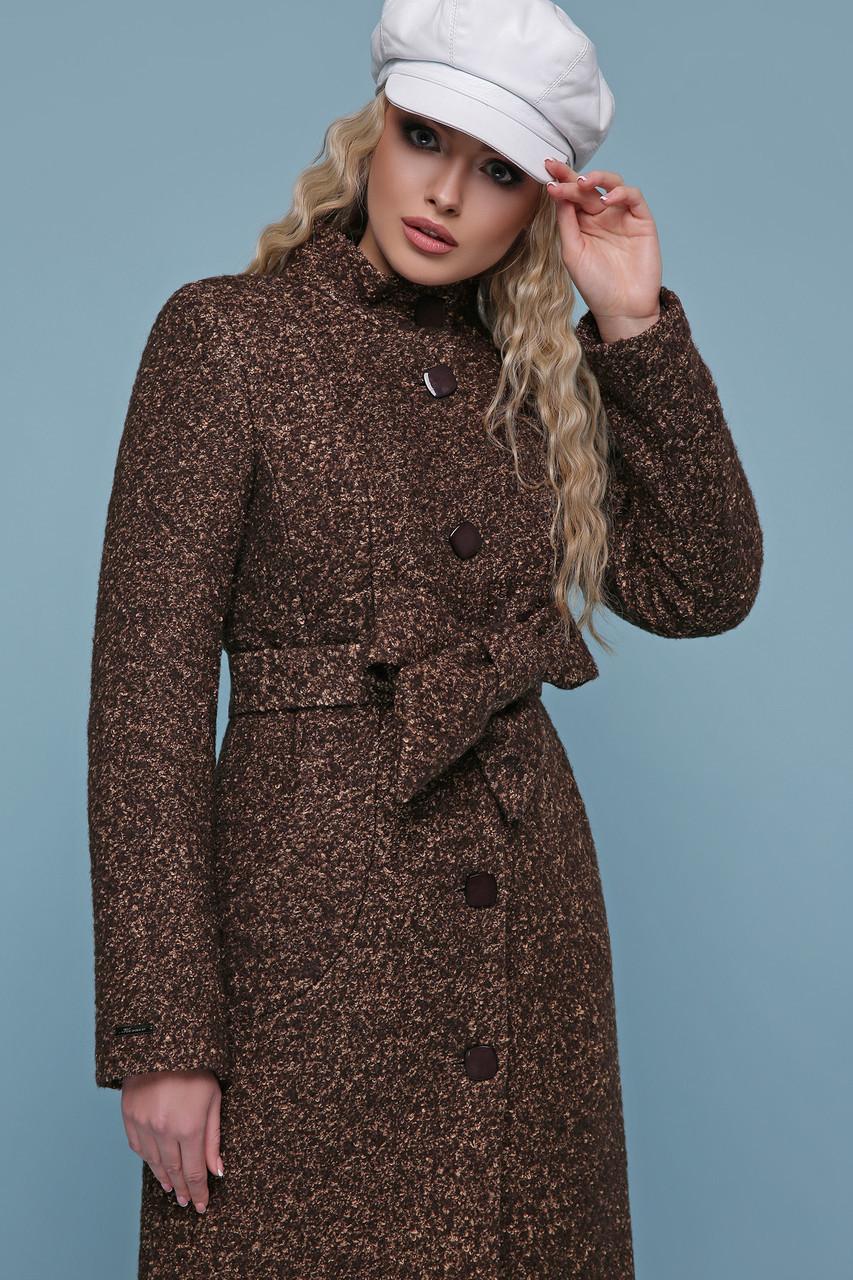 Теплое шерстяное женское короткое приталенное пальто с воротником-стойкой П-332 з, цвет 1224-коричневый