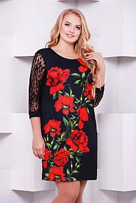 Коктейльное черное женское платье большой размер с гипюровыми рукавами принт Алые розы