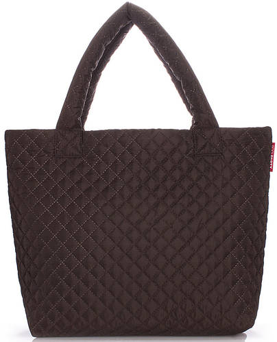 Вместительная женская стеганая сумка на двух ручках POOLPARTY pp1-eco-brown коричневая