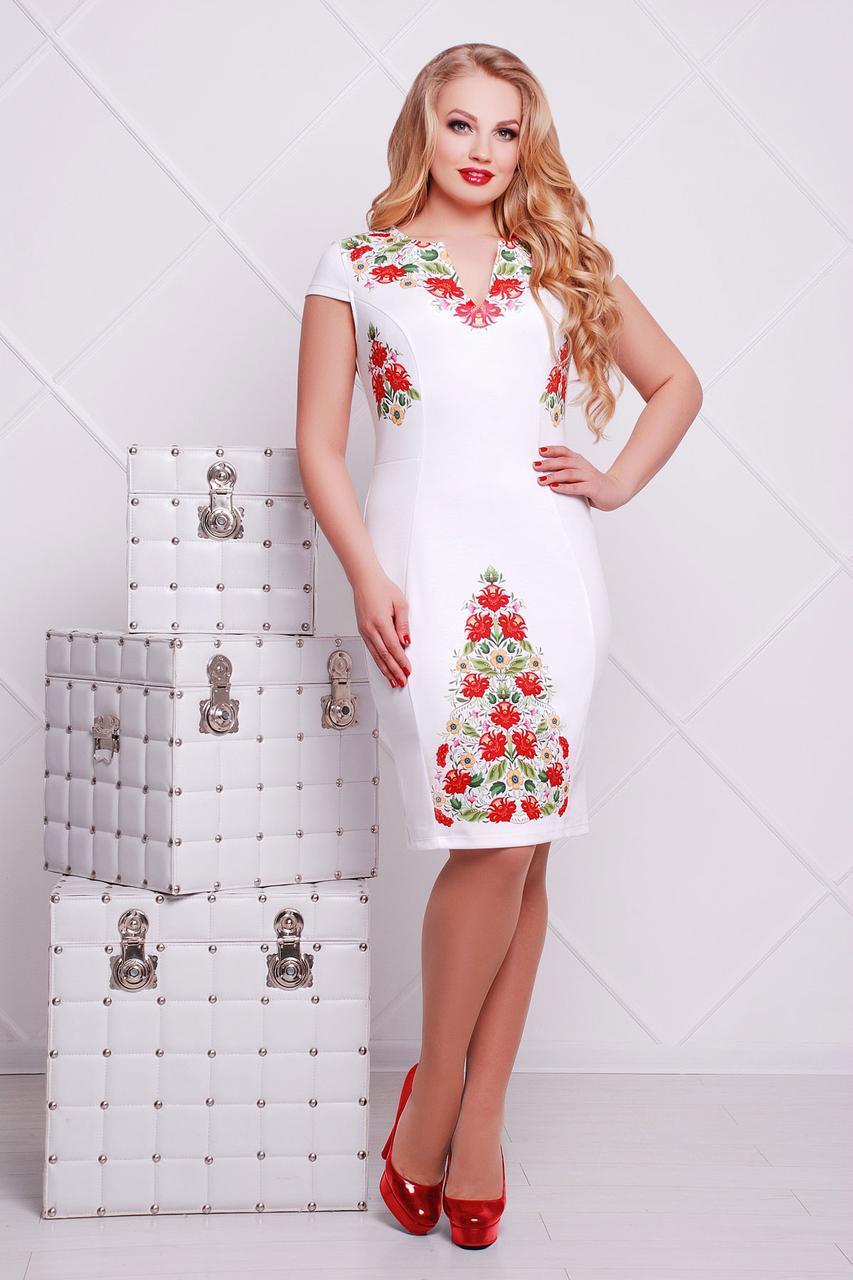 7ac781090e4 Белое прямое платье до колен со съемным шифоновым шлейфом принт Фольклор  Аркадия-Б б р большие размеры