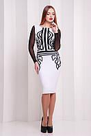 Красивое белое платье по фигуре до колен с сетчатыми рукавами с черными узорами Греция Лоя-2КС д/р