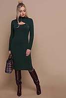 Женское  теплое платье по фигуре с оригинальным вырезом спереди Альбина д/р изумрудного цвета