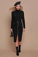 Черное теплое миди платье-гольф по фигуре с поясом и карманами Виталина д/р черное