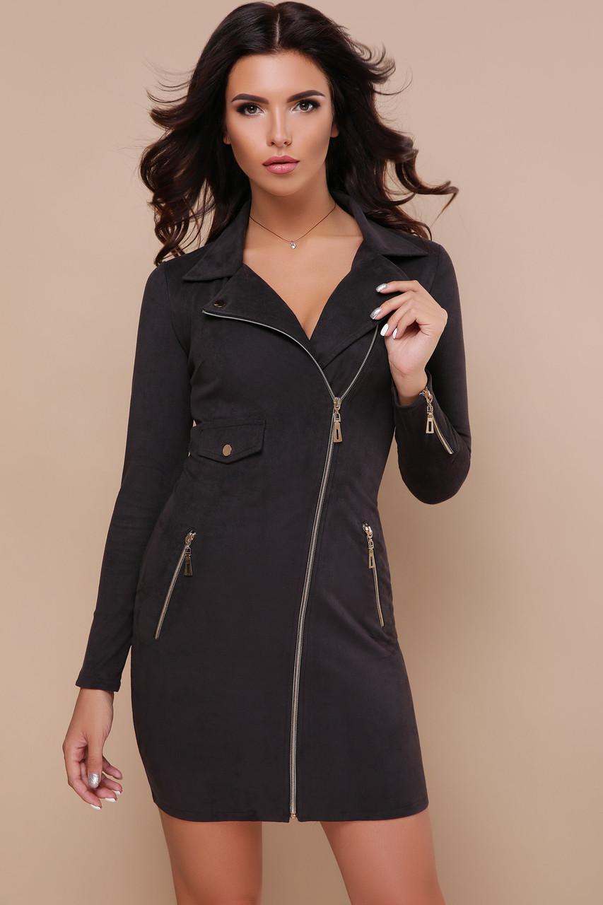 Черное замшевое платье мини на змейке спереди Михаела д/р длинный рукав