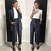 Костюм модный в клетку пиджак свободного кроя и брюки с завышенной талией Dld1244