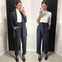 Костюм модный в клетку пиджак свободного кроя и брюки с завышенной талией Dld1244, фото 1