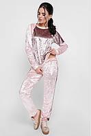 """Стильный женский велюровый спортивный костюм свитшот и брюки """"Sheinez"""" пудра-капучино"""