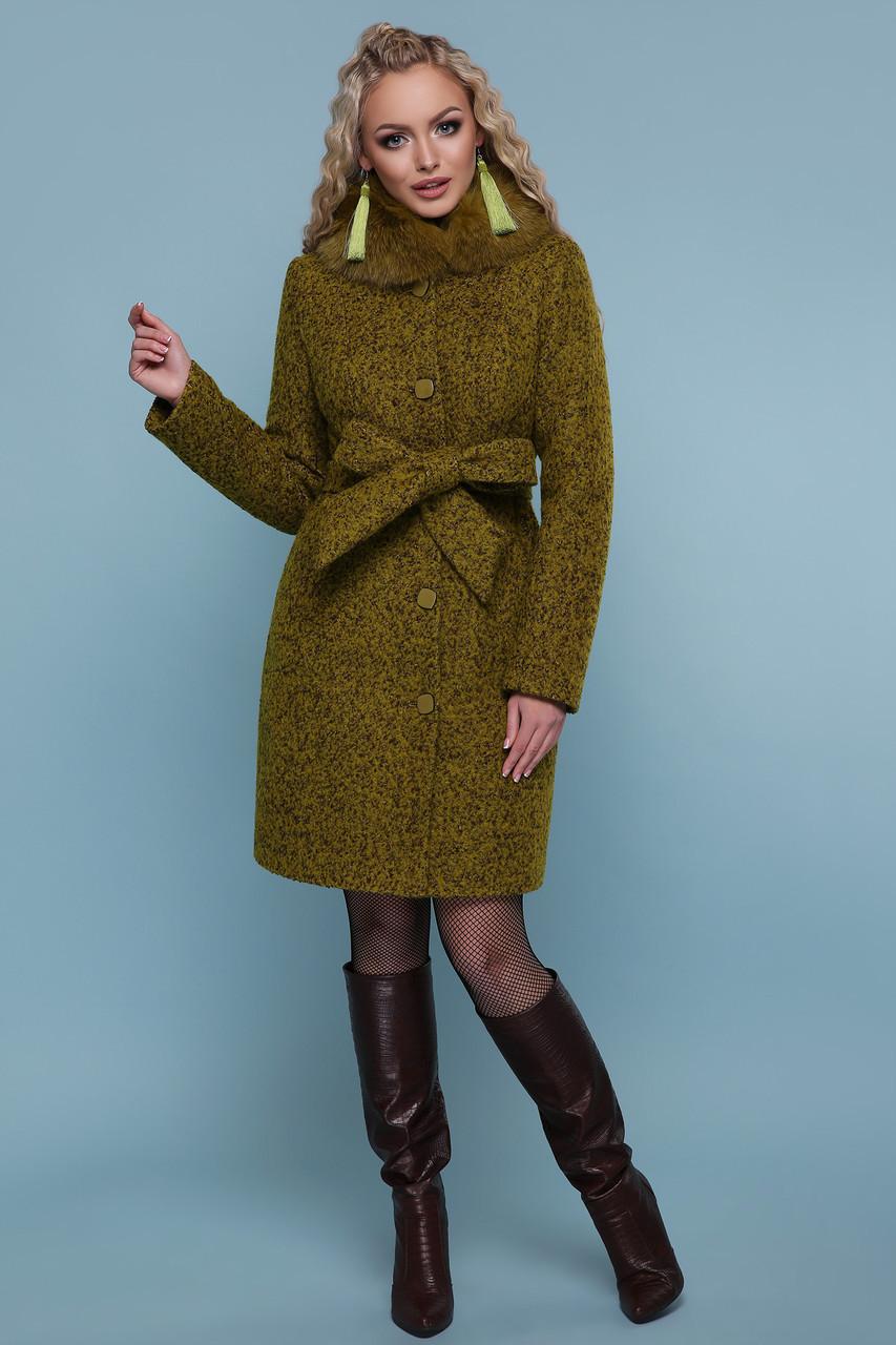 Короткое женское зимнее шерстяное пальто на пуговицах с меховым воротником П-332 зм, цвет 1222-карри