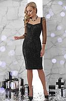 Черное коктейльное платье футляр до колен с пайетками и рукавами из сетки Памела д/р