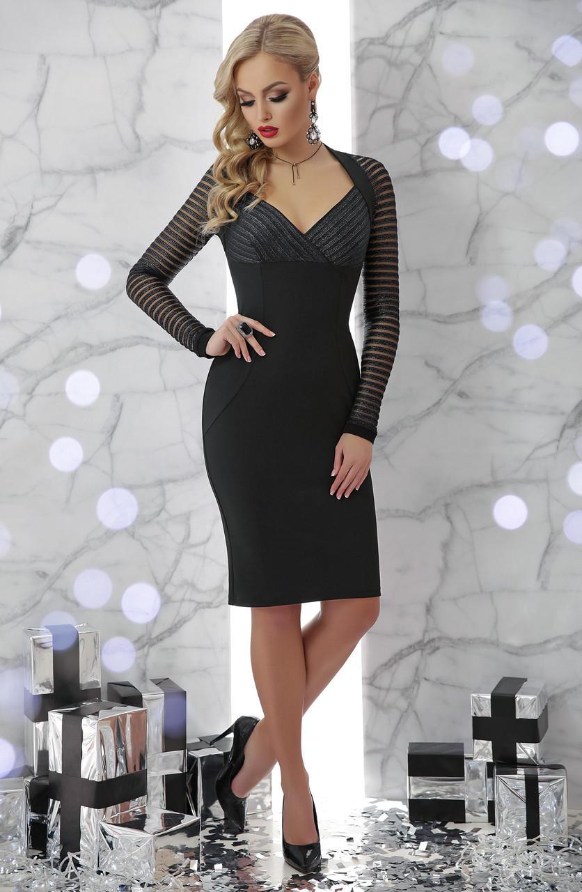 Красивое черное платье футляр по колено с декольте и рукавами из сетки Патриция д/р