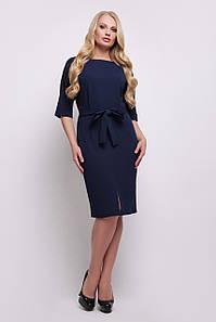 Стильное платье футляр по колено с рукавами летучая мышь и пояском, большие размеры Руся-Б к/р темно-синее