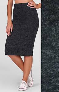 """Стильная женская миди юбка-карандаш из ангоры на высокой талии """"Rich"""" черная"""
