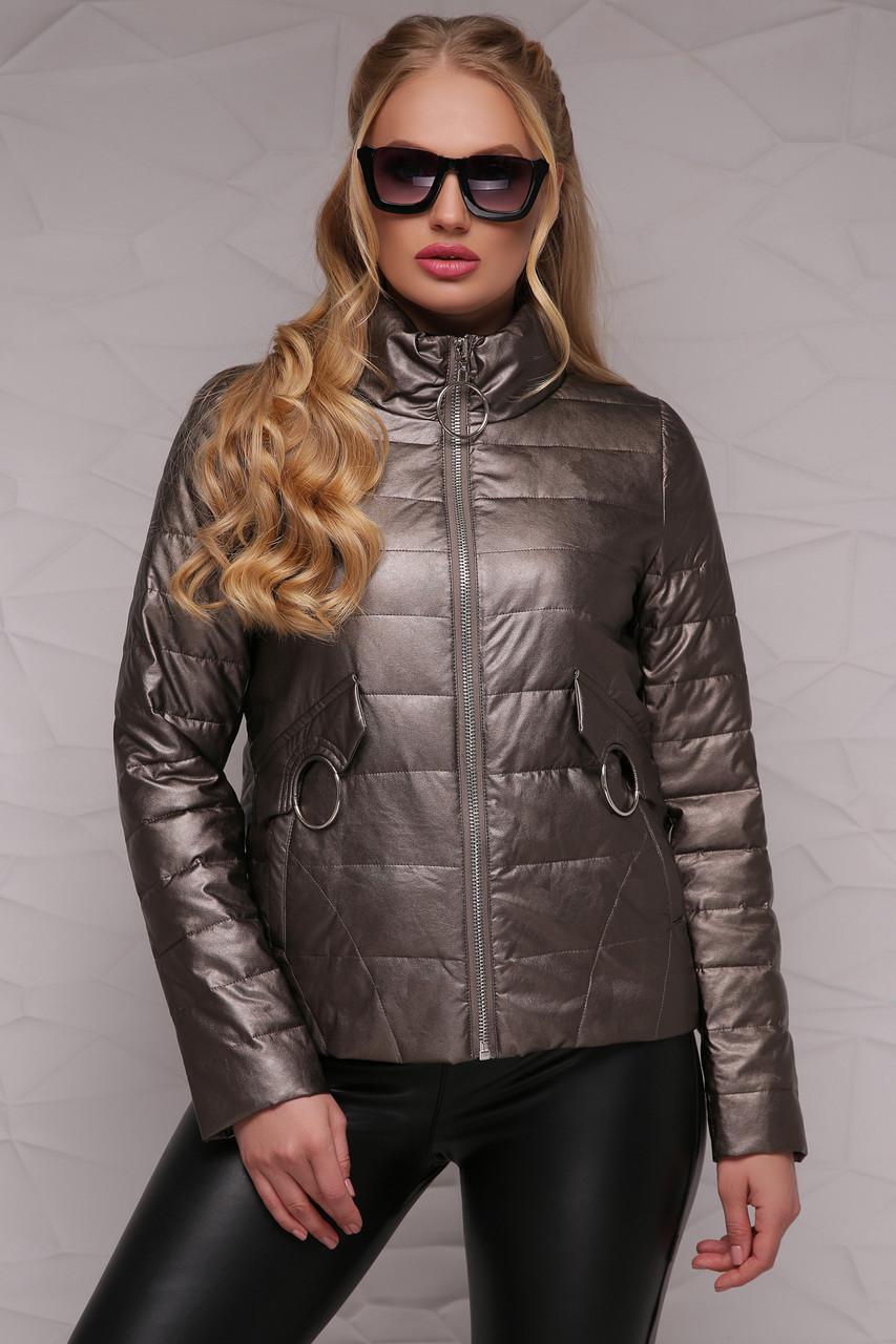 Женская короткая куртка демисезонная без капюшона на молнии, большие размеры бронза-металлик 18-126(б)