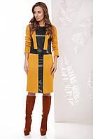 Женское прямое приталенное платье с отделкой из эко-кожи спереди с длинными рукавами, горчица