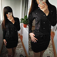 """Женское платье с бусинами и завязками на талии из ангоры """"Мартина"""" большой размер, черное"""