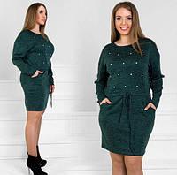 """Женское платье с бусинами и завязками на талии из ангоры """"Мартина"""" большой размер, темно-зеленое"""