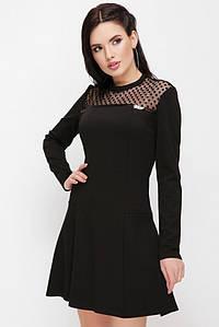 """Женское повседневное приталенное женское черное платье с сеткой, длинный рукав """"Valencia"""""""