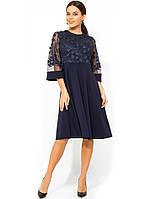 Темно-синее платье с верхом из сетки с лепестками Д-967