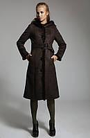 Женская коричневая дубленка на пуговицах, с натуральной опушкой из норки 42