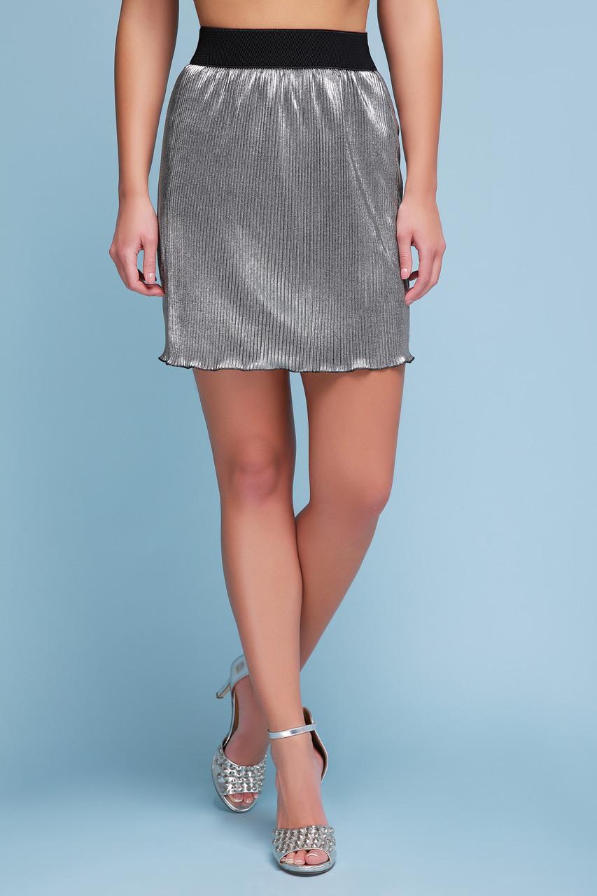 Модная короткая плиссированная юбка Плиссе (короткая) черная металлик