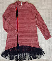 Детское малиновое платье на девочку Анабель р. 128-146 розовое