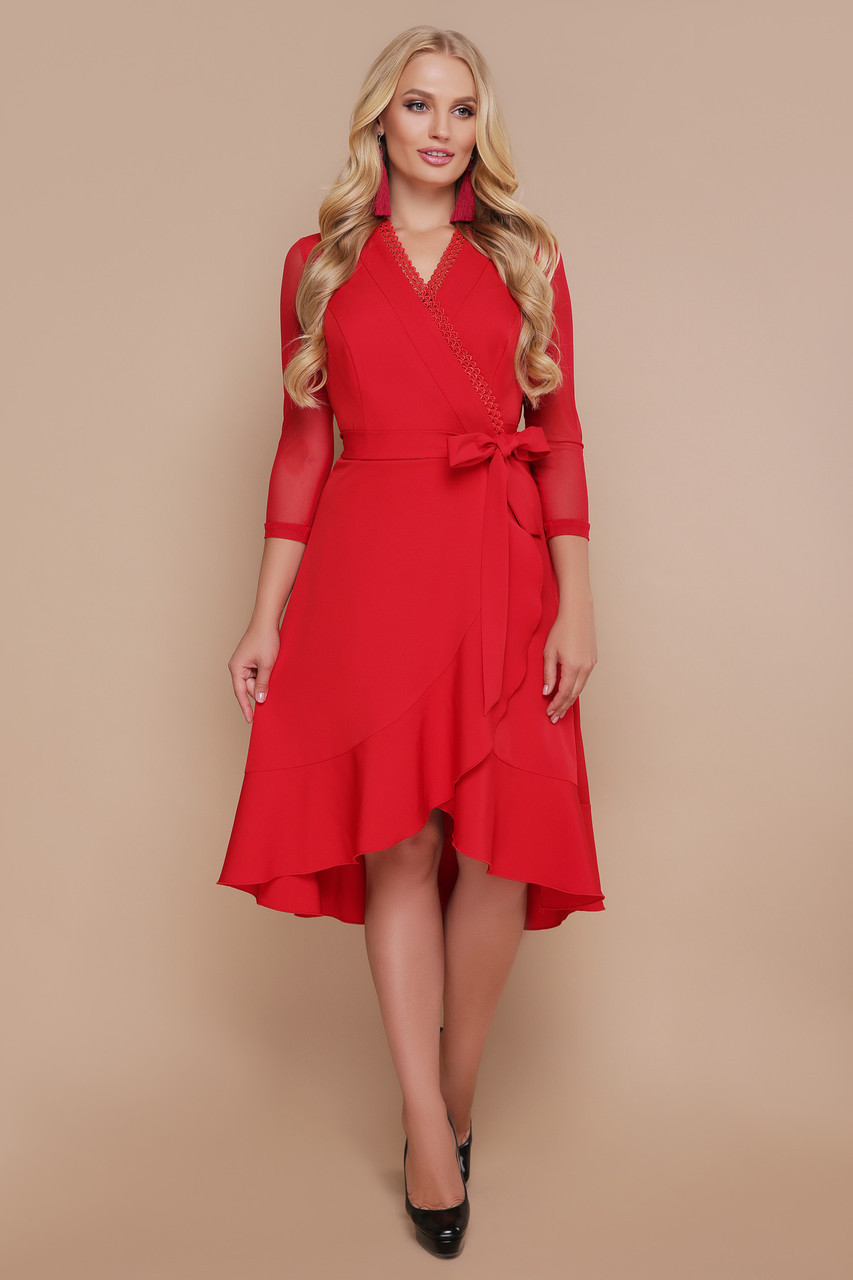Коктейльное красное платье с запахом и воланами Алеся-Б д/р большие размеры
